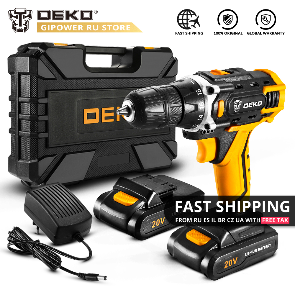 DEKO New Banger 12V Loner 16V Sharker 20V Electric Drill With Lithium Battery Pack Cordless Drill For Home DIY Mini Power Driver