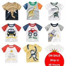 Summer Kids Boy T-Shirt Cotton T-Shirts Cartoon Elephant Dinosaur Short Sleeve Tops Tees Children Girl T shirt Baby Boy Clothes