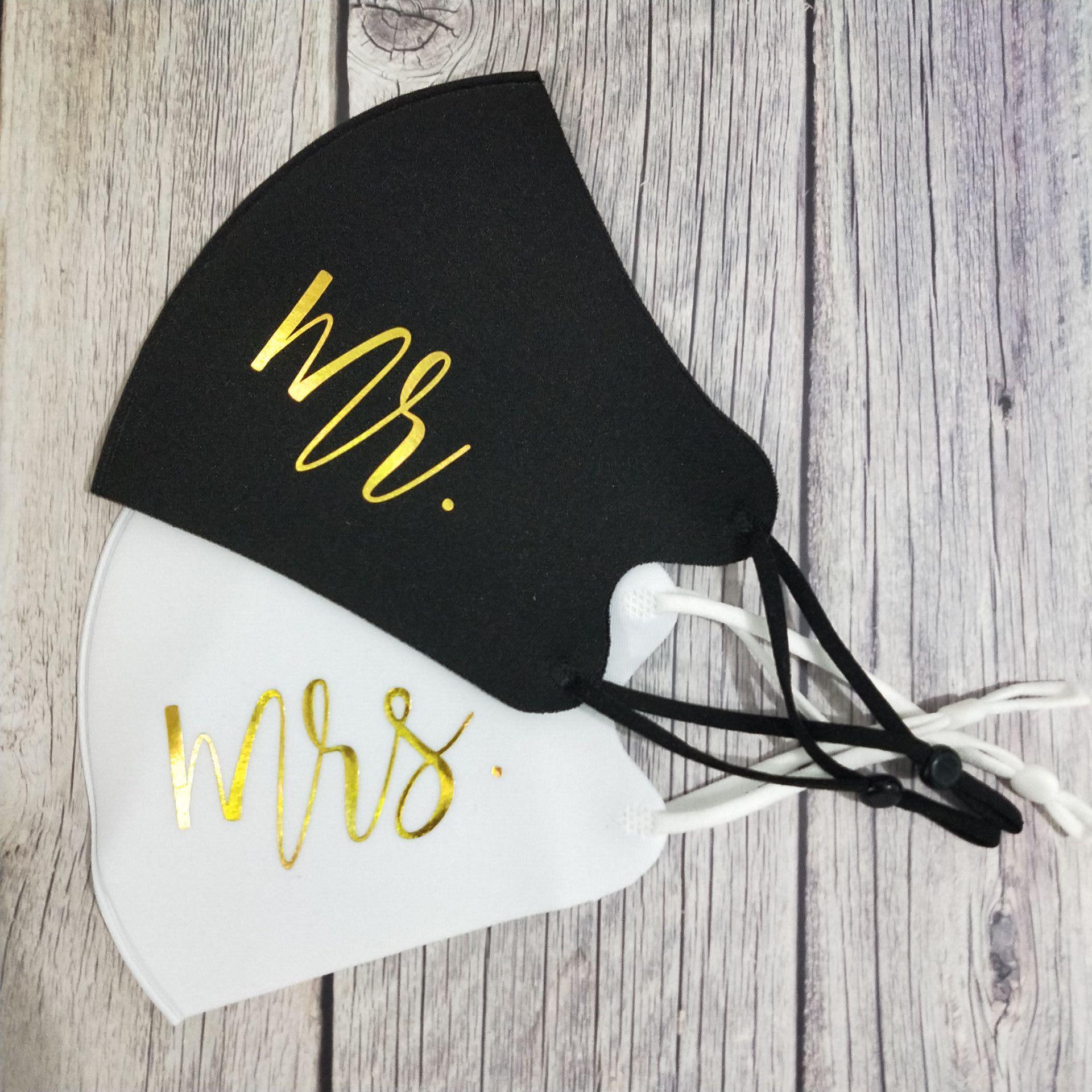 2 шт. Mr Mrs свадебный торт маска для лица с регулируемым взрослых маски для лица Жених и невеста пара свадебных маска многоразовые Респиратор ...
