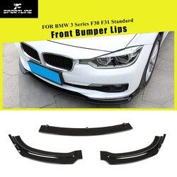 Przedni spojler zderzaka rozgałęźniki spojler do bmw serii 3 F30 F31 Standard 2013-2018 ABS wygląd włókna węglowego/czarny błyszczący