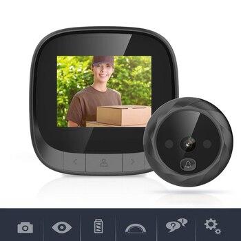 Puerta con agujero, cámara inteligente, Wifi, Hd, 2,4 pulgadas, timbre de puerta con ojo de gato, intercomunicador de voz inteligente para teléfono, timbre antirrobo con vídeo