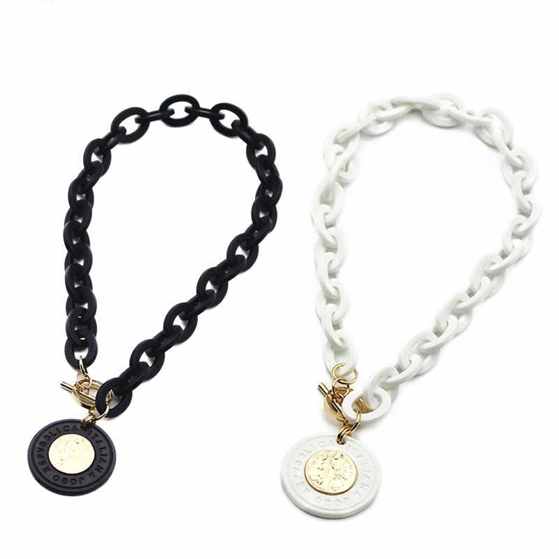 Verklaring Ketting Acryl Munt Hanger Geometrische Kettingen Hangers Voor Vrouwen Collier Choker Sieraden Chokers Kolye Collares