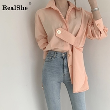 RealShe Blouse Women Lapel Full Sleeve Button Solid Womens Tops And Blouses Spring Autumn Shirt Casual Woman 2019