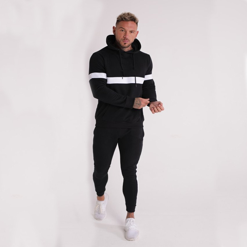 Muscle Brother Europe And America Popular Brand Solid Color Sports Fitness Service Men Hooded Fitness Hoodie Suit