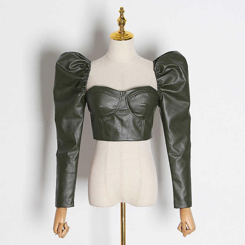 TWOTWINSTYLE, винтажная короткая женская блузка с открытой спиной, квадратный воротник, пышная туника с длинным рукавом, рубашки, Женская мода 2019, одежда