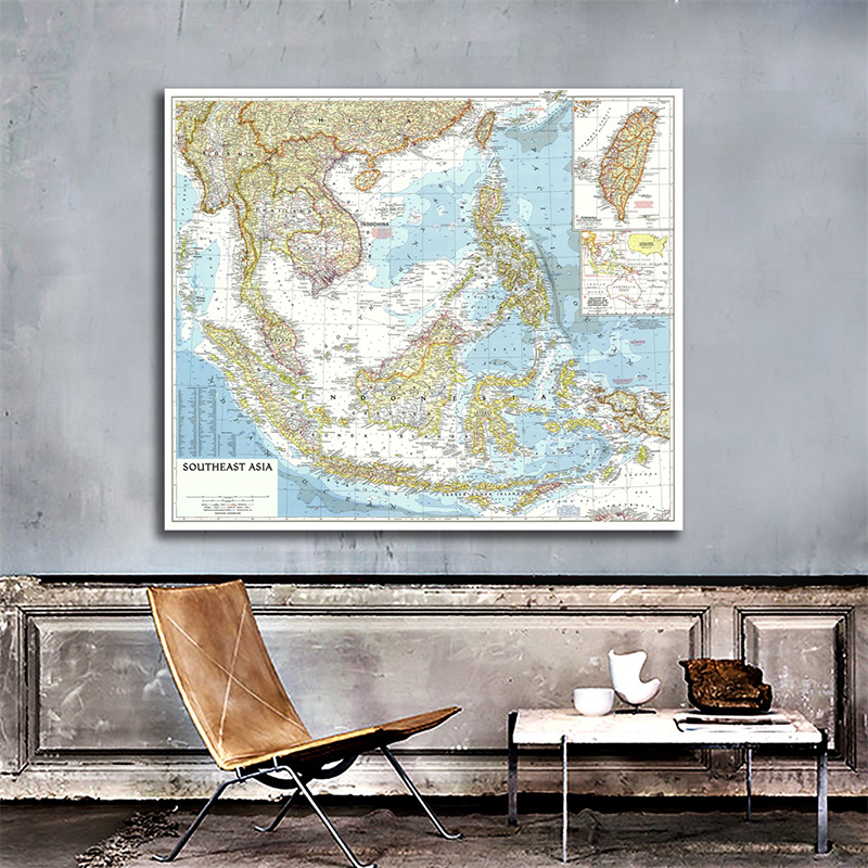 150*150cm Southeast Asia 1955 World Map Large Map Of World Detailed Poster Wall Chart Paper Kraft Paper Home Office Decoration