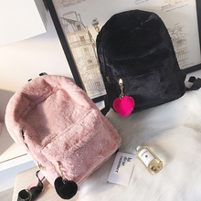 Winter Plush Women Backpack  2019 Cute For Teenagers Shoulder Bag Soft Campus School Bags Fashion Girl
