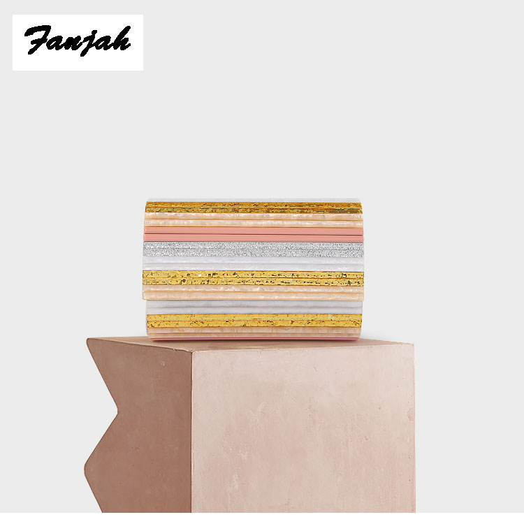 Acrylic Box Bags Hard Surface Women Elegant Shoulder Bags long Clutches Wedding Fashion Party Purse striped colorful acrylic bag