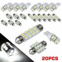 20 قطعة مصباح ليد الأبيض الداخلية حزمة عدة ل T10 و 31 مللي متر خريطة قبة لوحة ترخيص