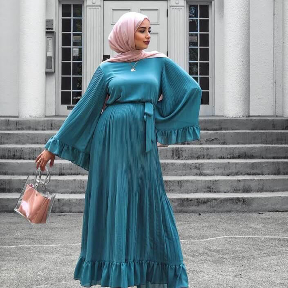 Pleated Abaya Dubai Plus Size Hijab Muslim Evening Dress Turkish Dresses Islamic Clothing Abayas For Women Vestidos Musulman