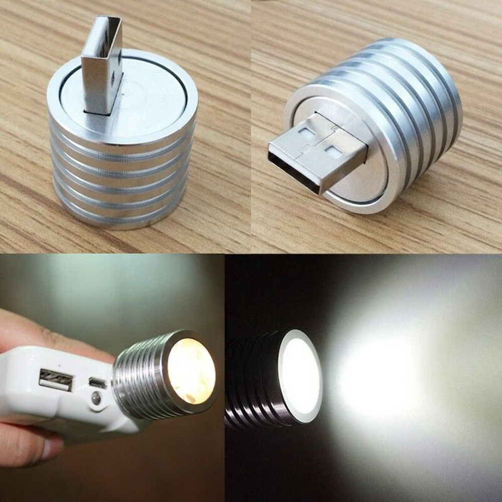 Aluminum Alloy Adjustable  Handheld Rechargeable Mini LED Mobile Power Connector Light Portable Outdoor Flexible Torch Bulb