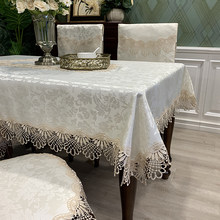 Rectangle Dinning Tablecloth Luxury Embroidery Lace Round Table Cover Flower Elegant Hollow Out Table Cloth Table Flag Towels