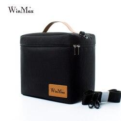 Winmax مصنع المخرج الأسود الحرارية معزول اليومية حقيبة الغداء صندوق مجموعات المحمولة الغذاء الطازجة إبقاء حاوية كبيرة نزهة برودة أكياس