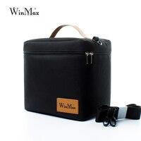 Winmax Fabrik Outlet Schwarz Thermische Isolierte Täglichen Mittagessen Tasche Box Sets Tragbare Lebensmittel Frisch Halten Großen Container Picknick Kühler Taschen