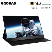 15.6 ultrathin portable monitor eye care 1080p full hd lcd ips panel gaming monitor for laptop phone ps4 xbox with leather case