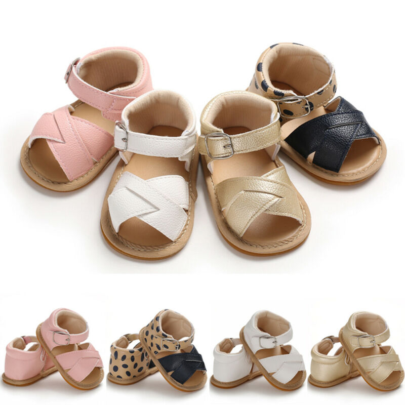 Summer Baby Girl Sandals Fashion Shoes Leather Canvas Dotted Plaid Newborn Baby Shoes Beach 0-18M Kids Soft Crib Walkers Sandals