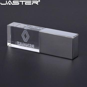 JASTER renault crystal + metal USB flash sürücü pendrive 4GB 8GB 16GB 32GB 64GB 128GB harici depolama memory stick u disk