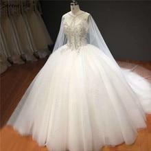 Weiß Ärmellose Schal Garn Sparkle Hochzeit Kleider High end Diamant Perlen Sexy Brautkleider HA2272 Nach Maß