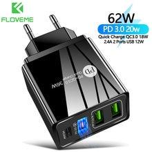 Floveme ue/eua/reino unido plug carregador 20w pd carga rápida 3.0 para iphone12 11 tipo c 18w carregador rápido 3.0 para xiaomi carga do telefone móvel