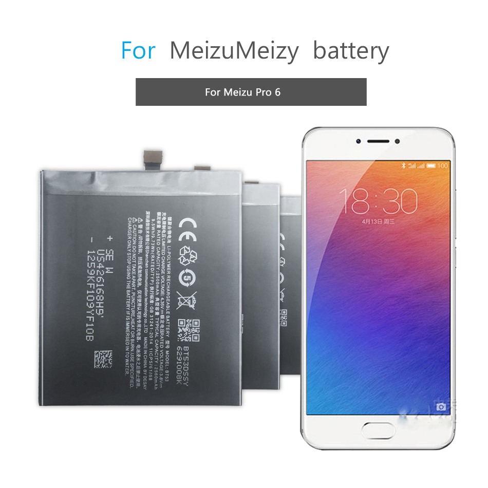 Mobile Phone Battery For Meizu PRO 6 BT53 PRO6 Battery 2560mAh  Replacement Battery 2560mAh BT53
