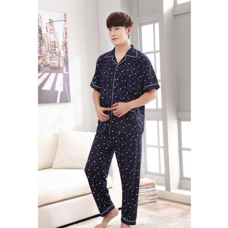 2020 Men's Cotton Pajamas Set Homewear Men Summer Pajama Short Sleeve Trousers  Men Sexy Lounge Wear Nightwear Pajamas For Men