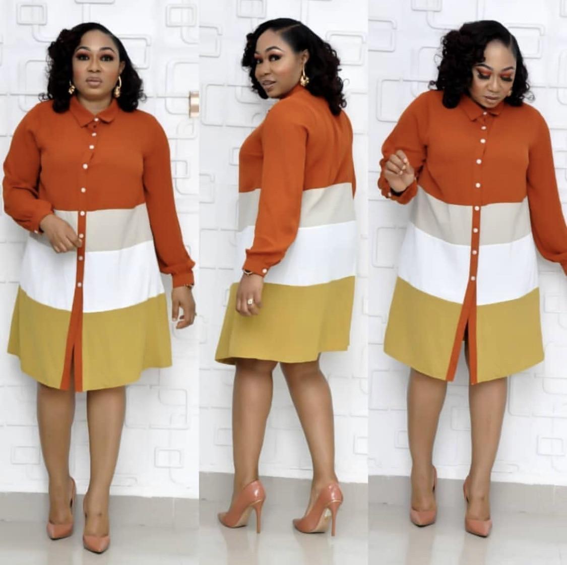2019 Autumn Elegent Fashion Style African Women Long Sleeve Beauty Polyester Shirt Dress