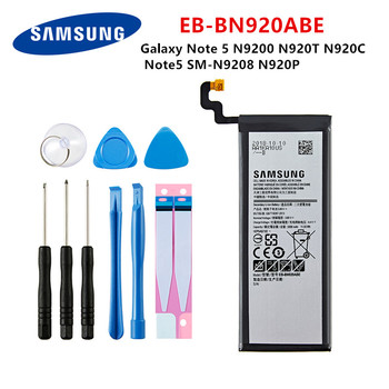 SAMSUNG Orginal EB-BN920ABE 3000mAh battery For Samsung Galaxy Note 5 N9200 N920T N920C N920P Note5 SM-N9208 Mobile Phone +Tools