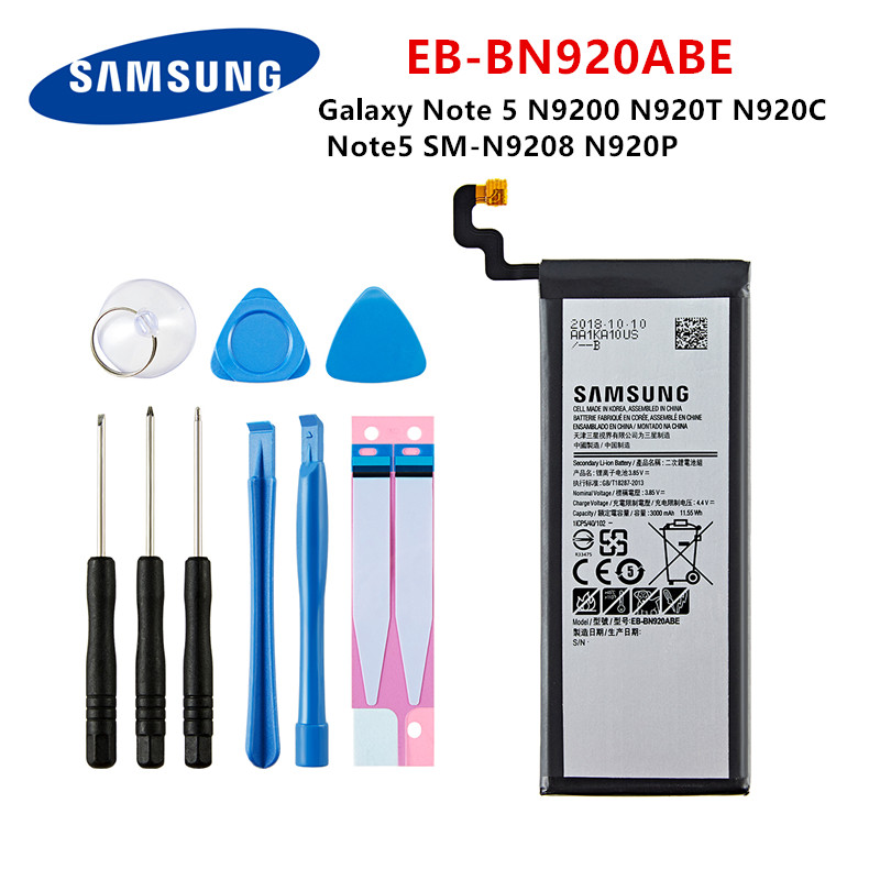 SAMSUNG Orginal EB-BN920ABE 3000mAh Battery For Samsung Galaxy Note 5 N9200 N920T N920C N920P Note5 SM-N9208 Mobile Phone +Tools
