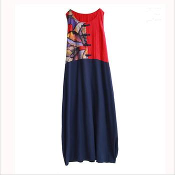 Spring summer Chinese style sleeveless Robe artistic temperament long Dress Traditional Leisure cotton linen vest dress