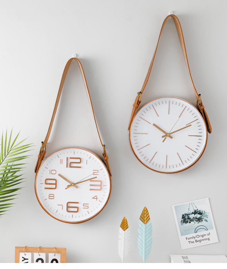 Round Dial Silent Wall Hanging Quartz Clock Home Living Room Bedroom Decoration Nordic style living room home clock wall clock|Wall Clocks|   - AliExpress