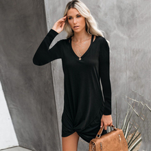 Missufe Autumn Front Knot Casual Black Dress Slim V Neck Mini Vestidos Dress Pullovers Sexy Robe Party Irregular Woman Dresses knot front striped dress