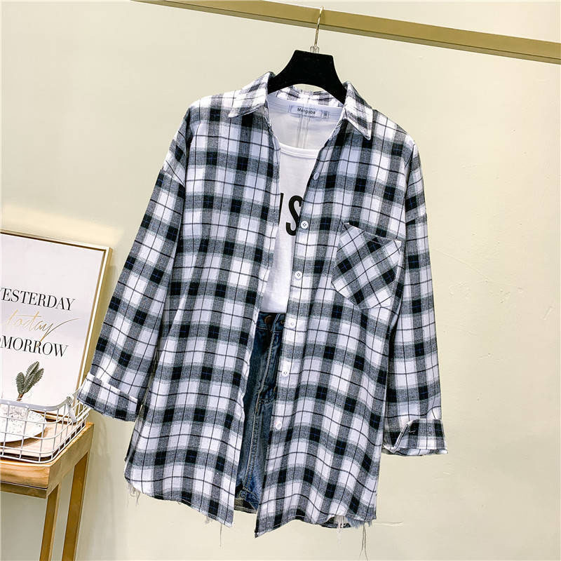 Women Spring Summer Style Blouses Shirts Lady Casual Long Sleeve Turn-down Collar Plaid Printed Blusas Tops ZZ0750 12