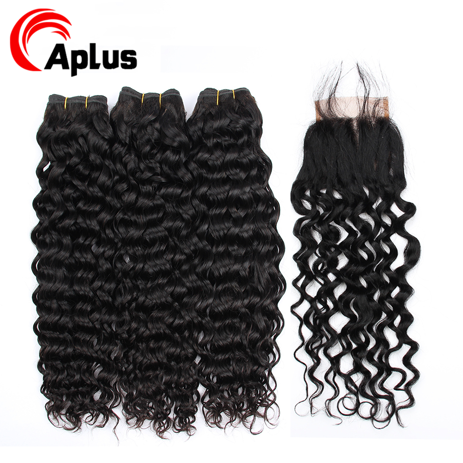 Peruvian Remy Hair Bundles With Closure Water Wave Lace Closure With Bundles Long Human Hair Weaving Extension 150% Density