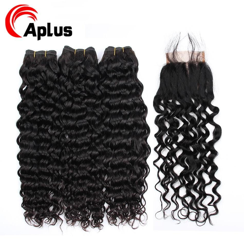 Peruvian Water Wave Hair Bundles With Closure Natural Color Long  Human Hair Weaving 3 Piece Extension Human Hair Non-Remy