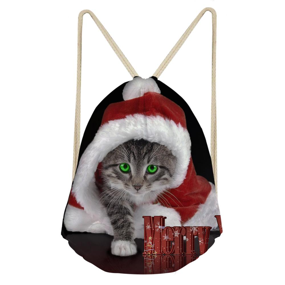 Christmas Drawstring Backpack 3D Cat Printing Drawstring Bags Men Women Boys Girls Animal Kitten Style Beach Shoulder Bag 2019