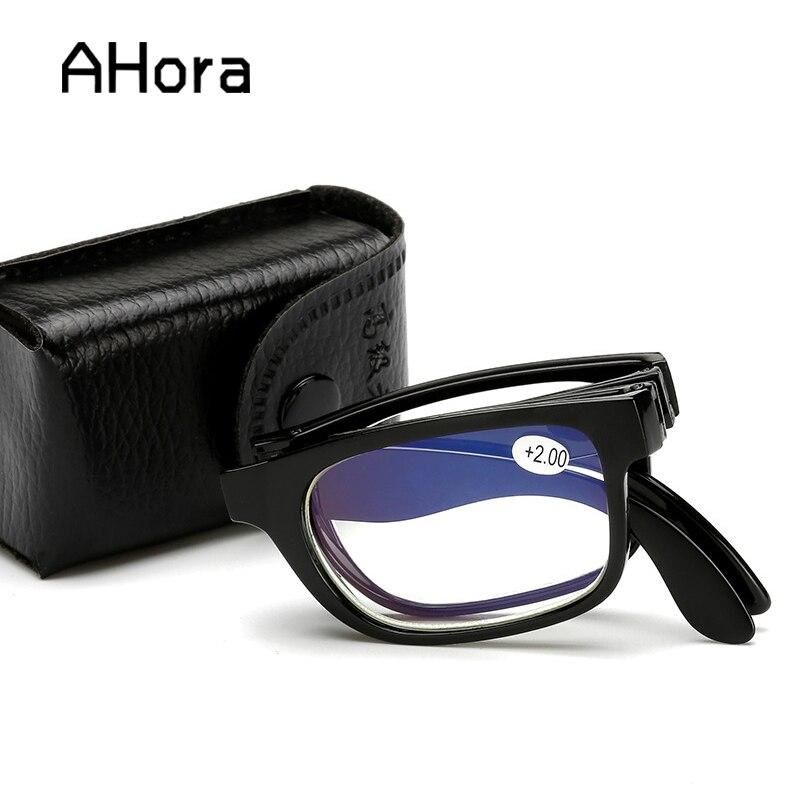 Ahora Унисекс Складные очки для чтения для женщин и мужчин портативный складной смолы Пресбиопии очки для чтения с Чехол + 1,0 ~ 4,0