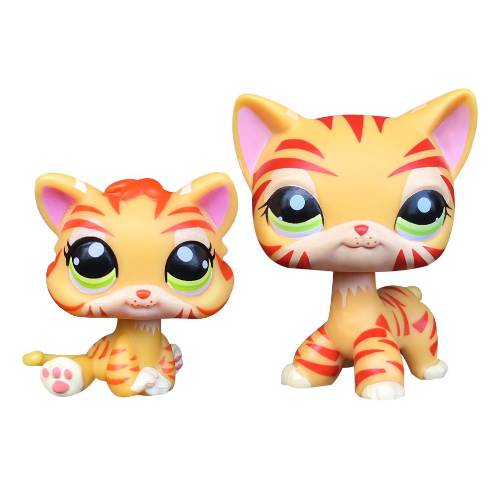 <font><b>LPS</b></font> <font><b>CAT</b></font> LPSCB Custom-Made <font><b>Baby</b></font> with Old Pet Shop Toys Standing Short Hair <font><b>Cat</b></font> #1451 orange striped Tiger Kitten image
