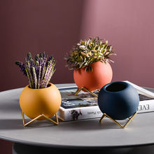 Круглый железный керамический цветочный горшок Настольный кронштейн