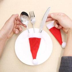 12PCS Christmas Tableware Holder Knife Fork Cutlery Set Xmas Hat Navidad Natal New Year 2020 Christmas Decorations for Home # 1