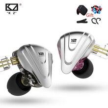 KZ ZSX שליחות קטלנית מתכת אוזניות 5BA + 1DD היברידי 12 יחידות HIFI בס אוזניות באוזן צג אוזניות רעש ביטול אוזניות KZ