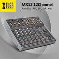 Xtuga mx12 canais 3-band eq audio music mixer console de mistura com usb xlr linha entrada 48 v phantom power para gravação de palco dj