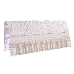 Image 1 - European Style Silk like Bedroom Bed Headboard Slipcover Protector Bed Beige