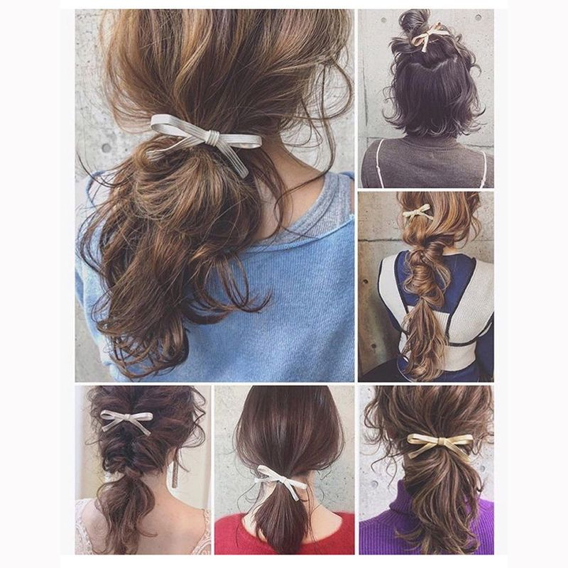 1pcsJapanese Style Fashion Cute Bow Hair Clip Metal Gold Silver Color Matte Hairpins For Girl Fashion Hair Accessories New