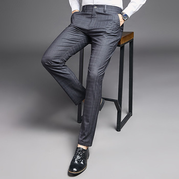 цена на Mens Classic Plaid Dress Suit Casual Summer Thin Loose Straight Black Plaid Trousers Men's Business Suits Formal Office Work