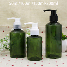 50ml 100ml 150ml 200ml Green Plastic Press Pump Bottle Refillable Shower Gel Cream Shampoo Pack Empty Cosmetic Lotion Container