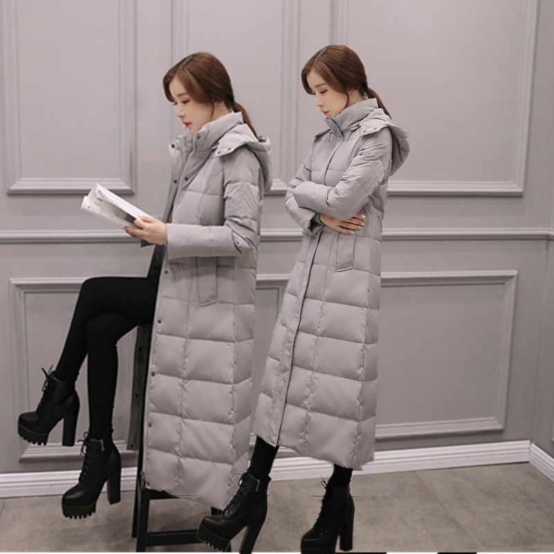 Корейское модное пальто для женщин ультра-легкое длинное пальто куртки плюс размер пуховик Женская куртка-пуховик с капюшоном куртки пальто для женщин 3XL