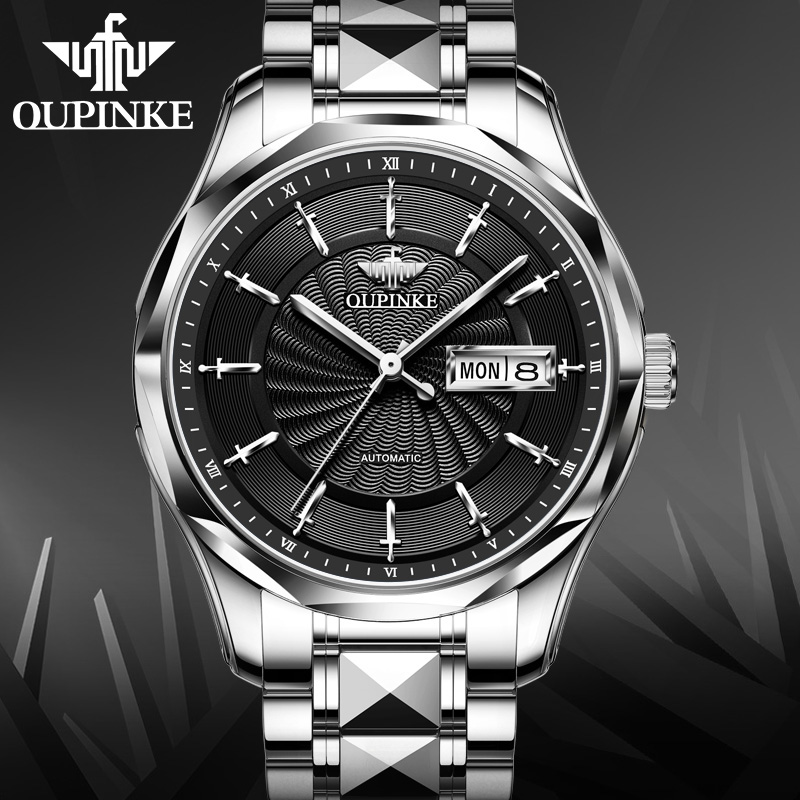 OUPINKE Men Watch Top Brand Business Lxurury Tungsten steel Waterproof MIYOTA  Auto Mechanical watches Gifts for Male Collect 6