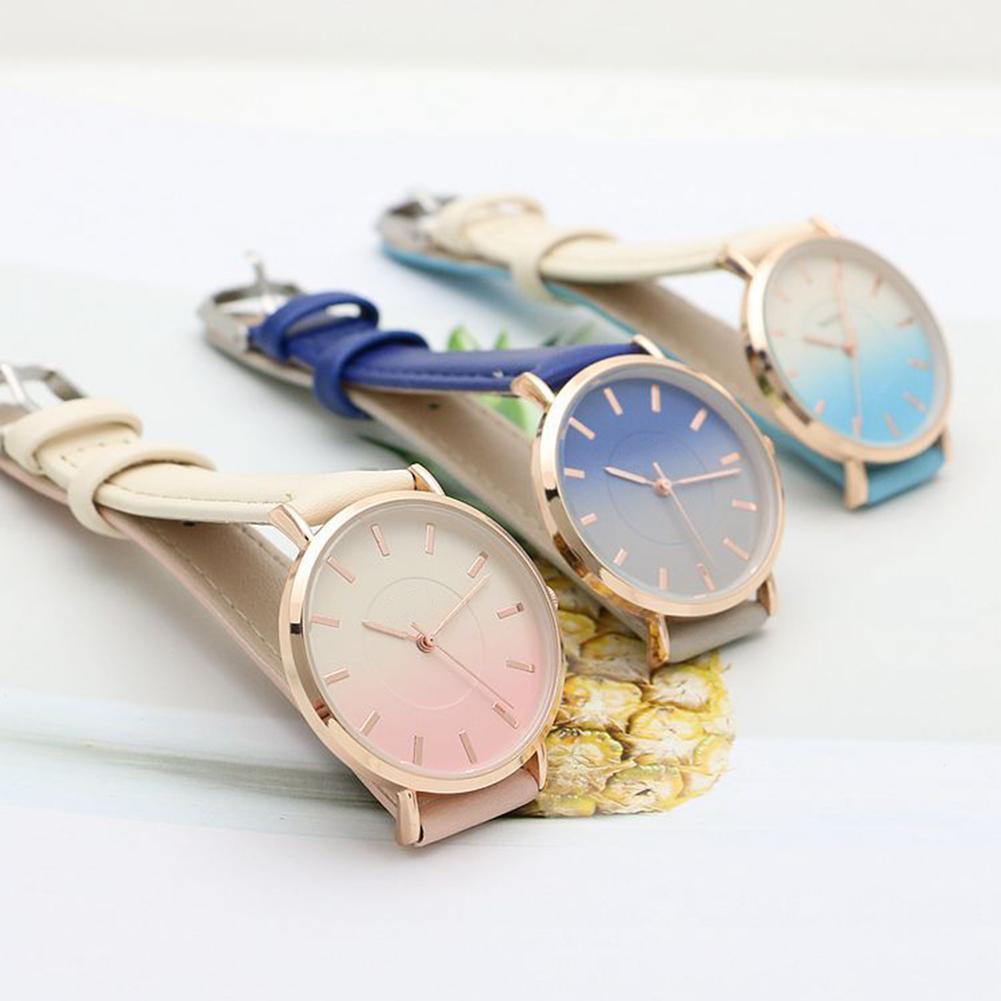 Unisex Students Color Block Quartz Wrist Watch Faux Leather Alloy Case Round Dial Watch Couple Male Female Пара смотреть 커플 시계