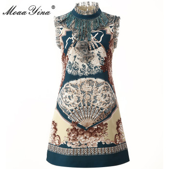 MoaaYina Fashion Designer dress Summer Women's Dress Stand collar Sleeveless Beading Tassel Japan Style Print Dresses tribal print tassel dress