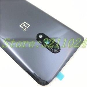 """Image 3 - 100% orijinal cam 6.41 """"Oneplus 7 1 + 7 arka pil kapağı arka kapı paneli konut Case + kamera lensi çerçeve + yapıştırıcı Sticker"""